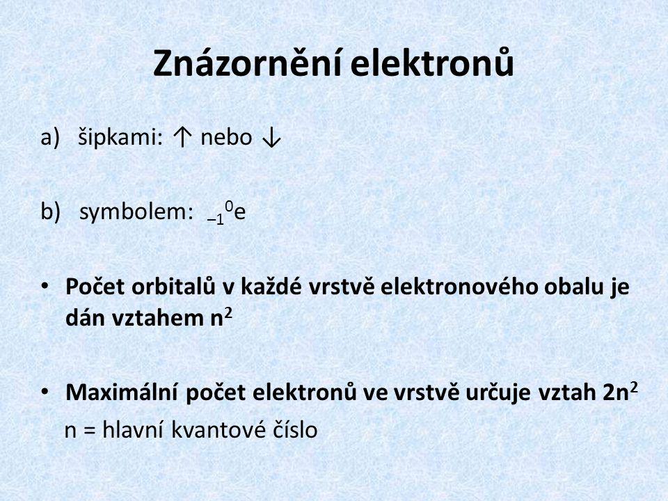 Znázornění elektronů šipkami: ↑ nebo ↓ b) symbolem: –10e