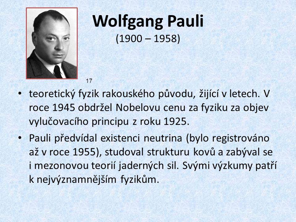 Wolfgang Pauli (1900 – 1958)