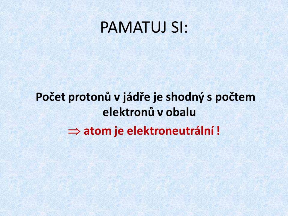 Počet protonů v jádře je shodný s počtem elektronů v obalu