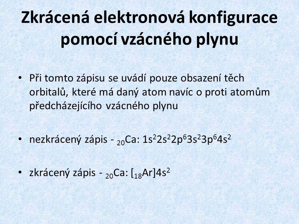 Zkrácená elektronová konfigurace pomocí vzácného plynu
