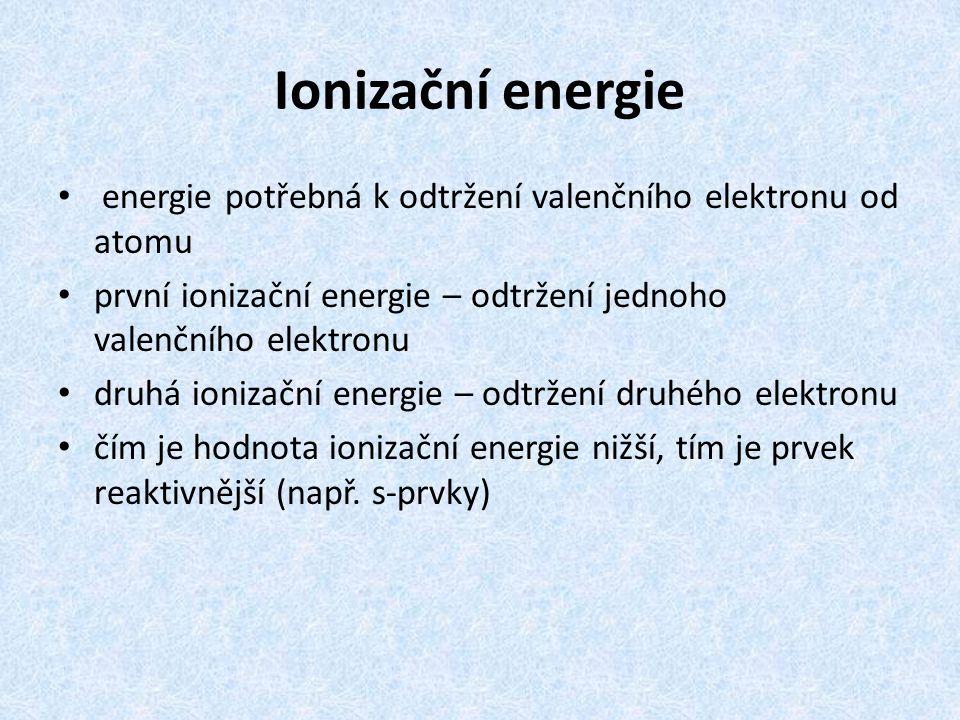 Ionizační energie energie potřebná k odtržení valenčního elektronu od atomu. první ionizační energie – odtržení jednoho valenčního elektronu.