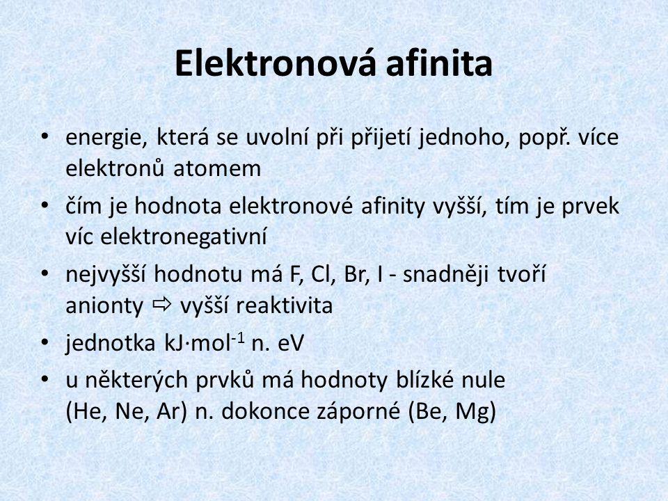 Elektronová afinita energie, která se uvolní při přijetí jednoho, popř. více elektronů atomem.