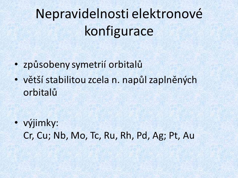 Nepravidelnosti elektronové konfigurace