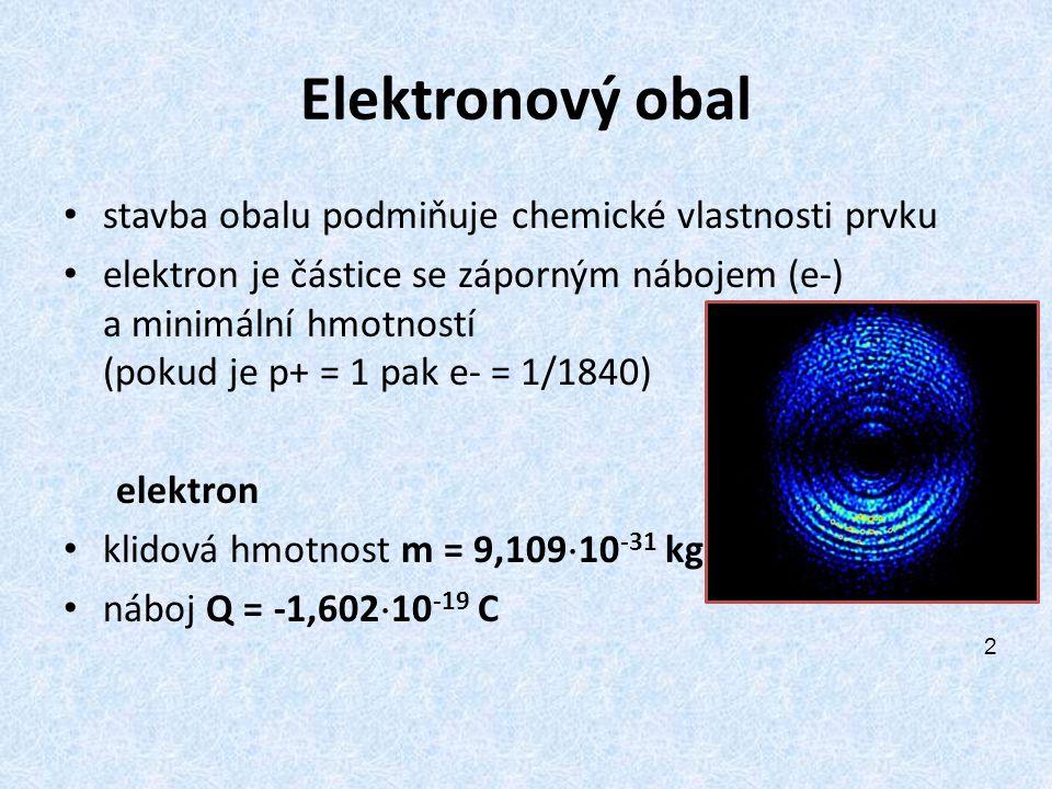 Elektronový obal stavba obalu podmiňuje chemické vlastnosti prvku
