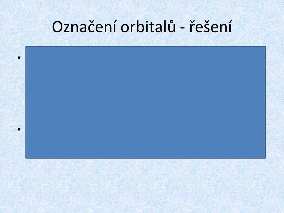 Označení orbitalů - řešení