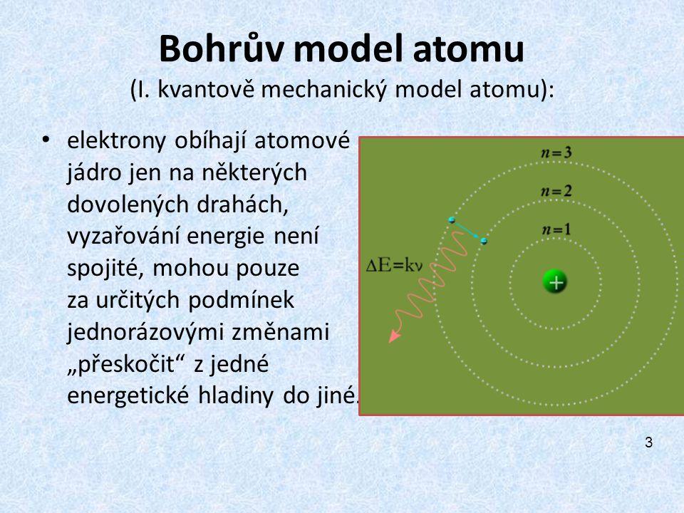 Bohrův model atomu (I. kvantově mechanický model atomu):