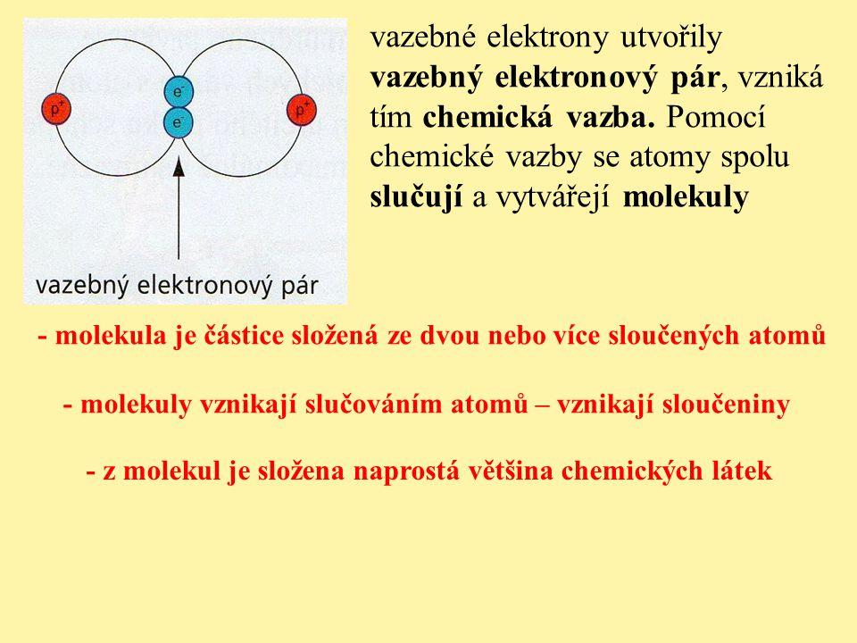 vazebné elektrony utvořily vazebný elektronový pár, vzniká tím chemická vazba. Pomocí chemické vazby se atomy spolu slučují a vytvářejí molekuly