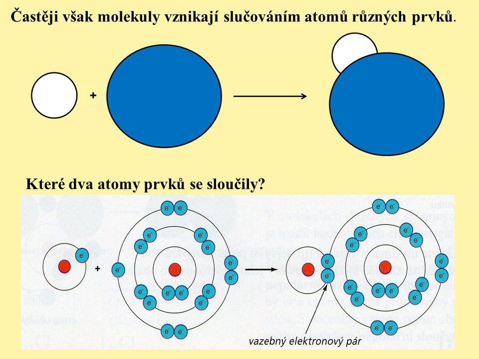 Častěji však molekuly vznikají slučováním atomů různých prvků.