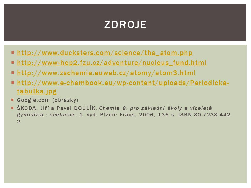 Zdroje http://www.ducksters.com/science/the_atom.php