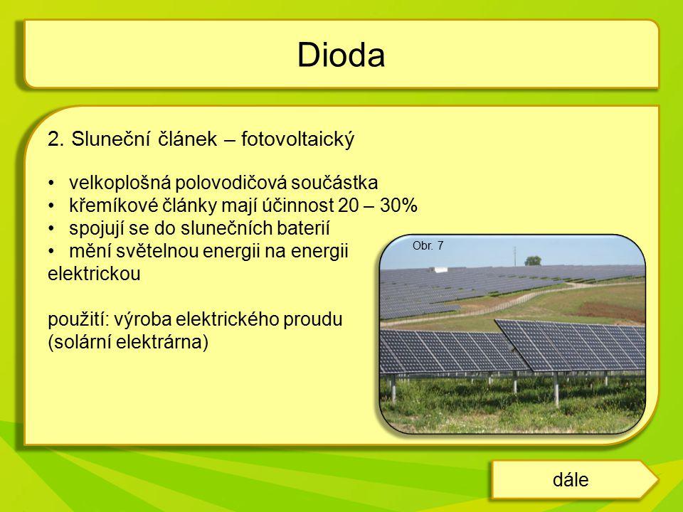 Dioda 2. Sluneční článek – fotovoltaický