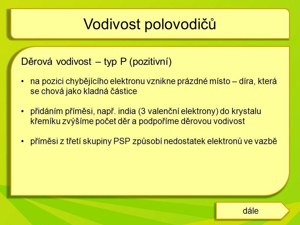 Vodivost polovodičů Děrová vodivost – typ P (pozitivní)