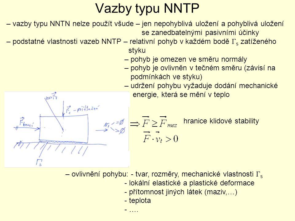 Vazby typu NNTP – vazby typu NNTN nelze použít všude – jen nepohyblivá uložení a pohyblivá uložení.