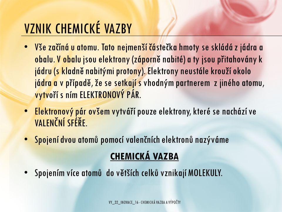 VY_32_INOVACE_16 - CHEMICKÁ VAZBA A VÝPOČTY