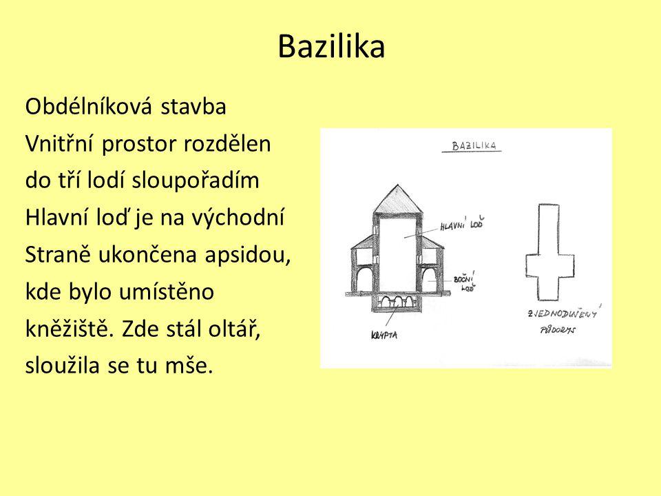 Bazilika Obdélníková stavba Vnitřní prostor rozdělen
