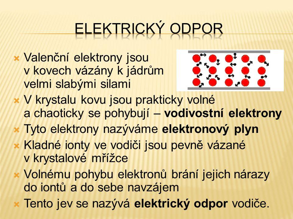 Elektrický odpor Valenční elektrony jsou v kovech vázány k jádrům velmi slabými silami.
