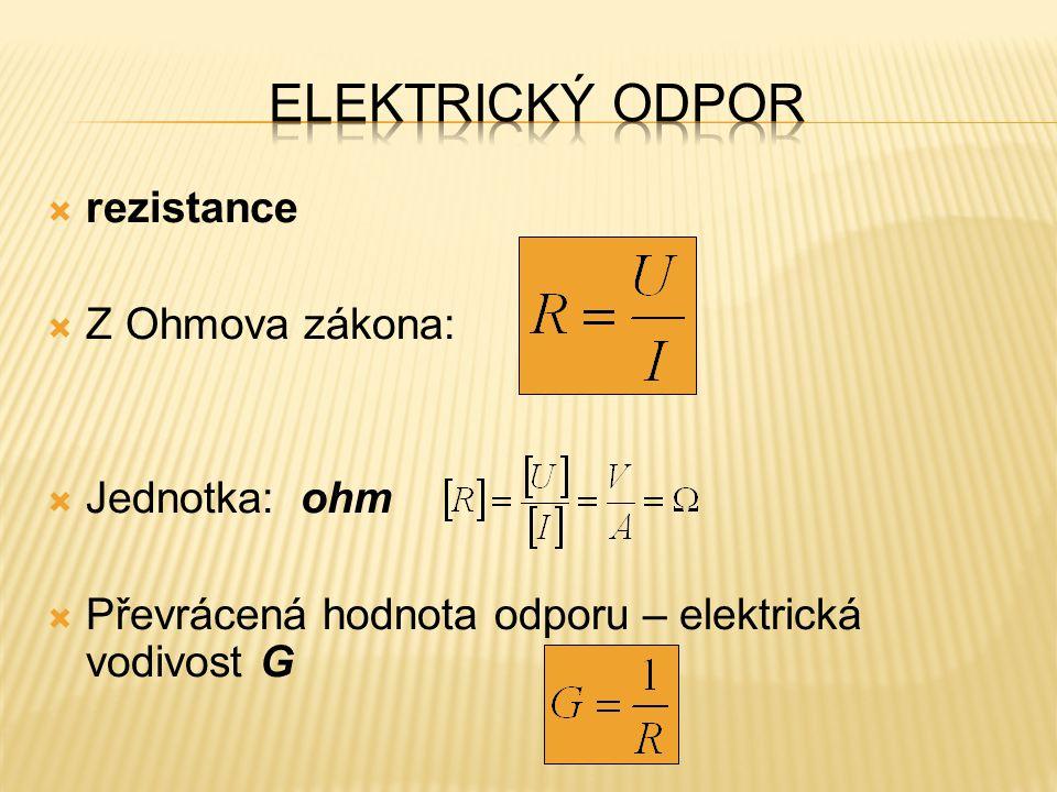 Elektrický odpor rezistance Z Ohmova zákona: Jednotka: ohm
