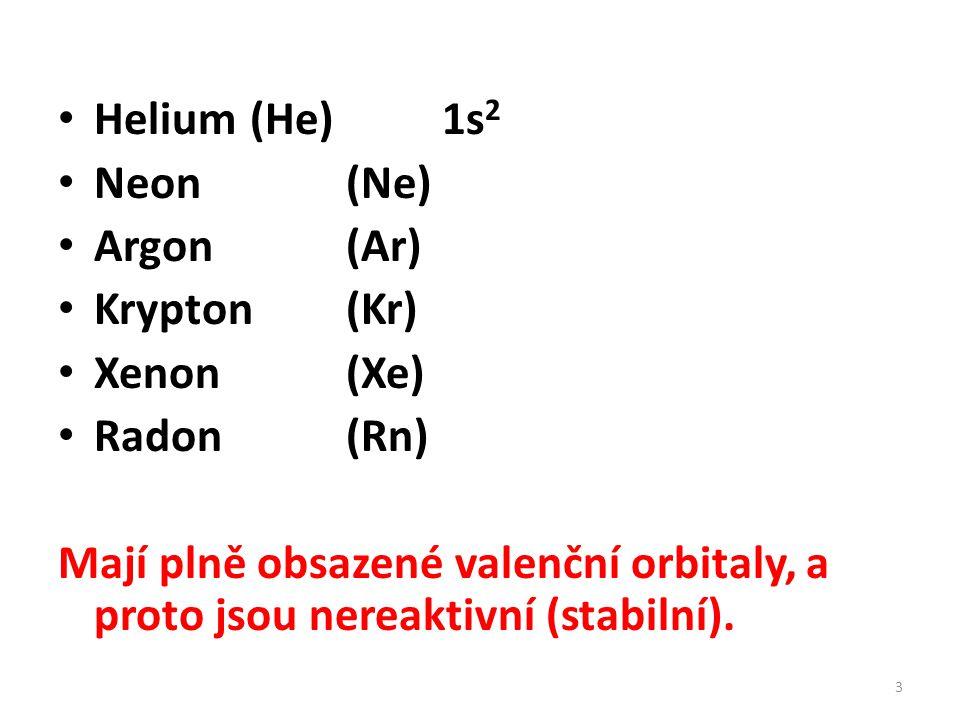 Helium (He) 1s2 Neon (Ne) Argon (Ar) Krypton (Kr) Xenon (Xe) Radon (Rn)