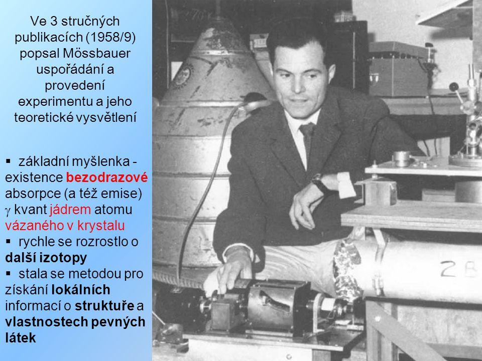 Ve 3 stručných publikacích (1958/9) popsal Mössbauer uspořádání a provedení experimentu a jeho teoretické vysvětlení