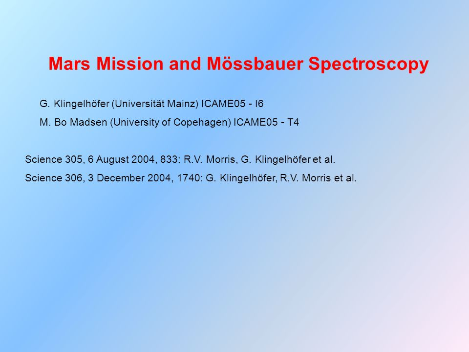Mars Mission and Mössbauer Spectroscopy