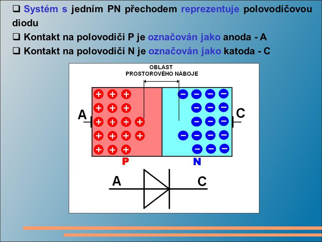 Systém s jedním PN přechodem reprezentuje polovodičovou diodu