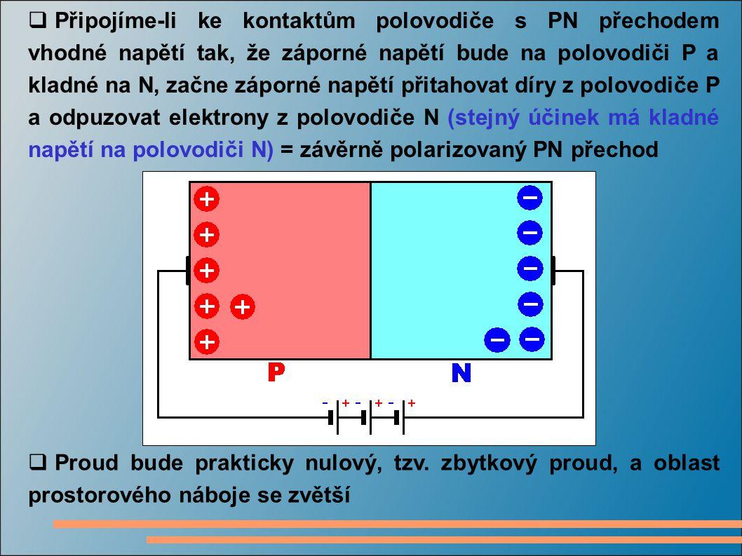 Připojíme-li ke kontaktům polovodiče s PN přechodem vhodné napětí tak, že záporné napětí bude na polovodiči P a kladné na N, začne záporné napětí přitahovat díry z polovodiče P a odpuzovat elektrony z polovodiče N (stejný účinek má kladné napětí na polovodiči N) = závěrně polarizovaný PN přechod