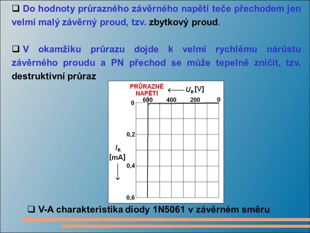 Do hodnoty průrazného závěrného napětí teče přechodem jen velmi malý závěrný proud, tzv. zbytkový proud.