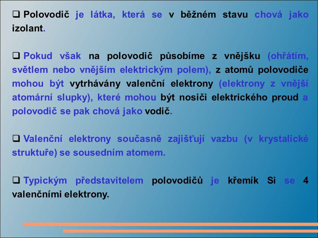 Polovodič je látka, která se v běžném stavu chová jako izolant.