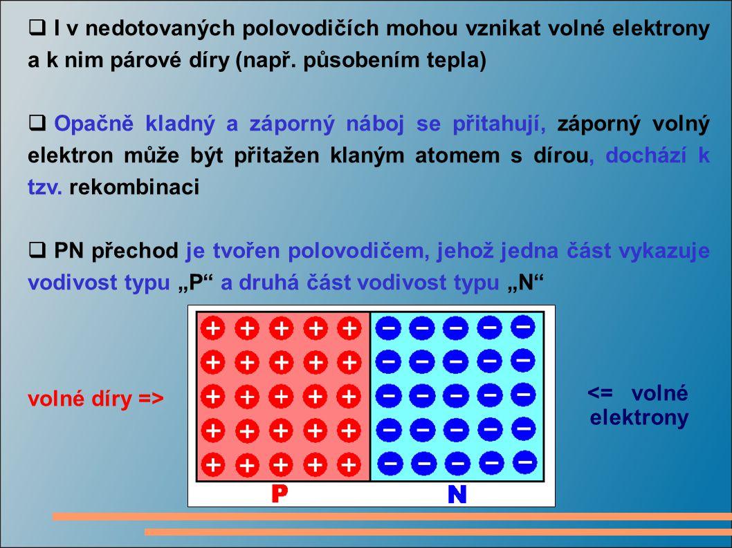 I v nedotovaných polovodičích mohou vznikat volné elektrony a k nim párové díry (např. působením tepla)