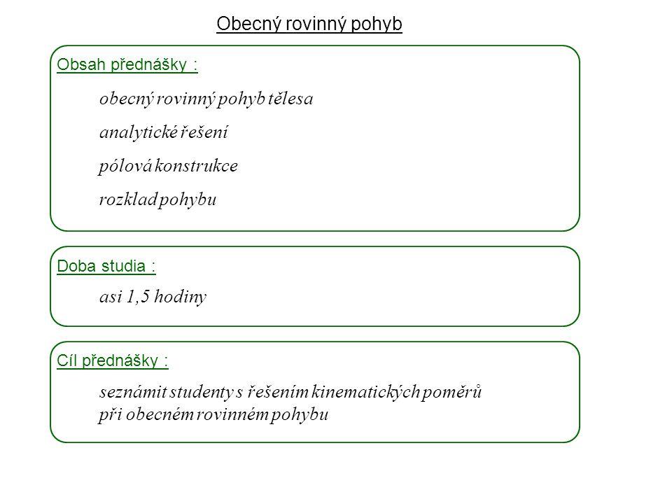 obecný rovinný pohyb tělesa analytické řešení pólová konstrukce