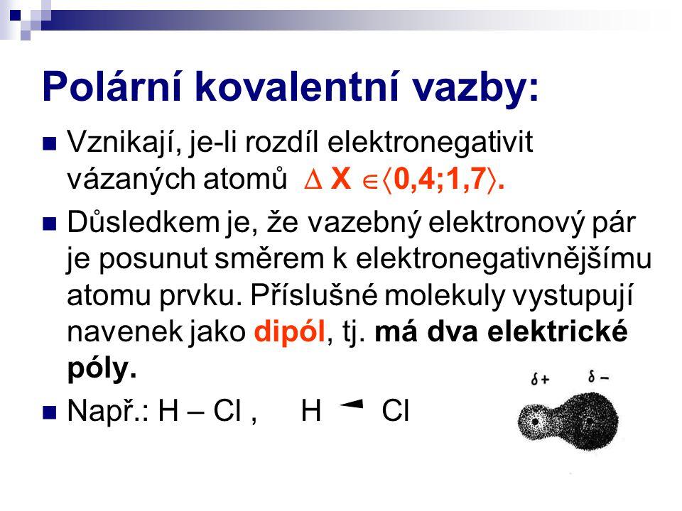 Polární kovalentní vazby: