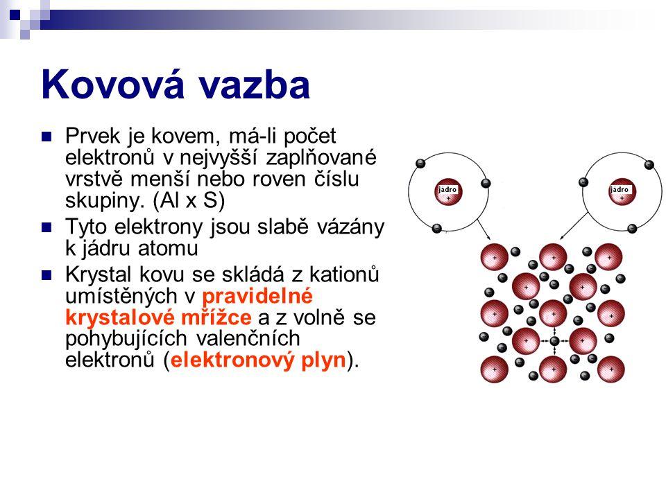 Kovová vazba Prvek je kovem, má-li počet elektronů v nejvyšší zaplňované vrstvě menší nebo roven číslu skupiny. (Al x S)