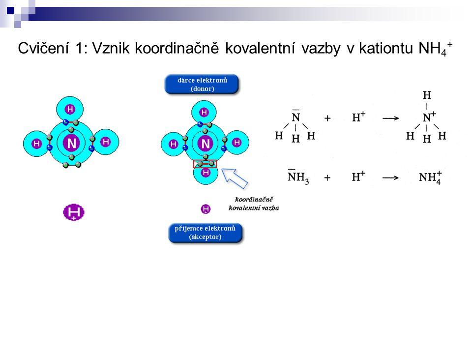 Cvičení 1: Vznik koordinačně kovalentní vazby v kationtu NH4+