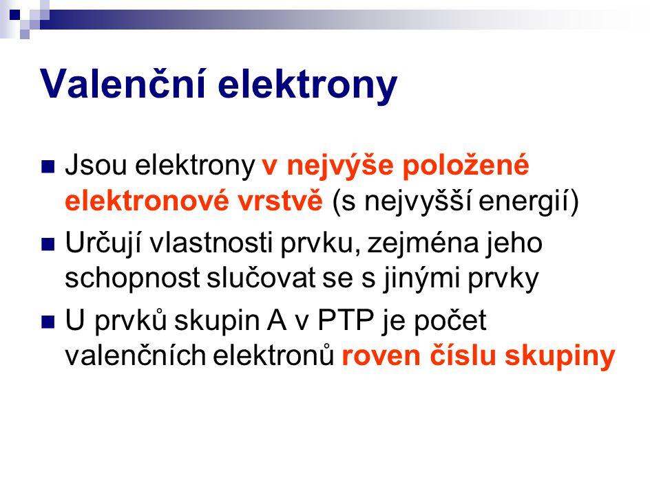 Valenční elektrony Jsou elektrony v nejvýše položené elektronové vrstvě (s nejvyšší energií)