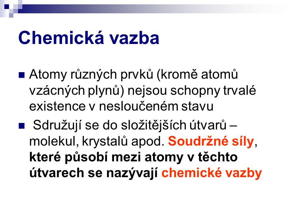 Chemická vazba Atomy různých prvků (kromě atomů vzácných plynů) nejsou schopny trvalé existence v nesloučeném stavu.