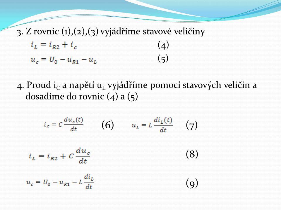 (6) (7) (8) (9) 3. Z rovnic (1),(2),(3) vyjádříme stavové veličiny (4)