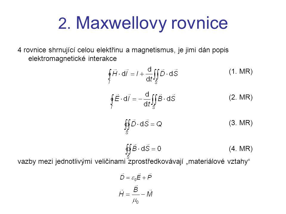 2. Maxwellovy rovnice 4 rovnice shrnující celou elektřinu a magnetismus, je jimi dán popis elektromagnetické interakce.