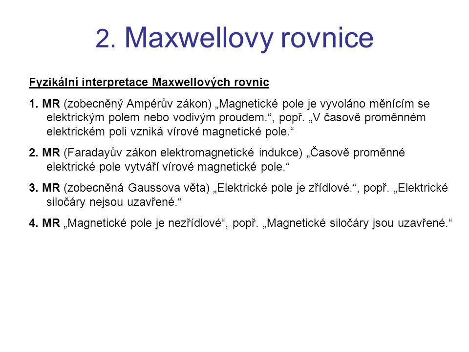 2. Maxwellovy rovnice Fyzikální interpretace Maxwellových rovnic