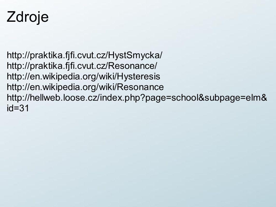 Zdroje http://praktika.fjfi.cvut.cz/HystSmycka/