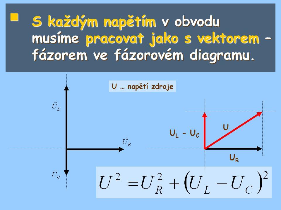 S každým napětím v obvodu musíme pracovat jako s vektorem – fázorem ve fázorovém diagramu.