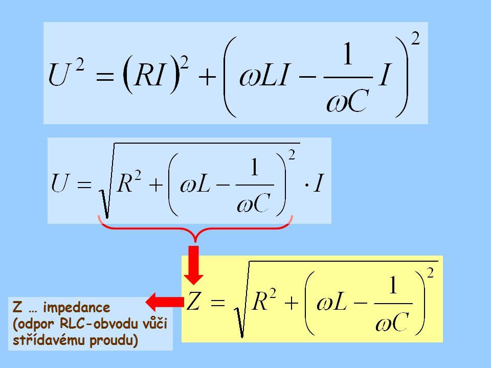 Z … impedance (odpor RLC-obvodu vůči střídavému proudu)