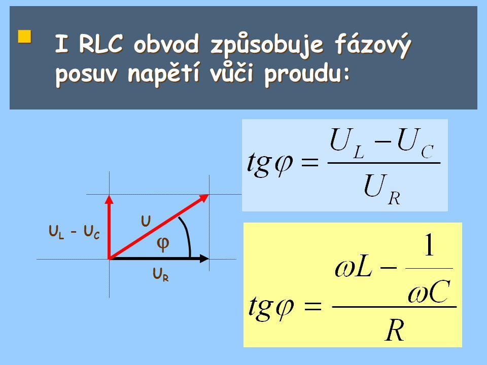 I RLC obvod způsobuje fázový posuv napětí vůči proudu: