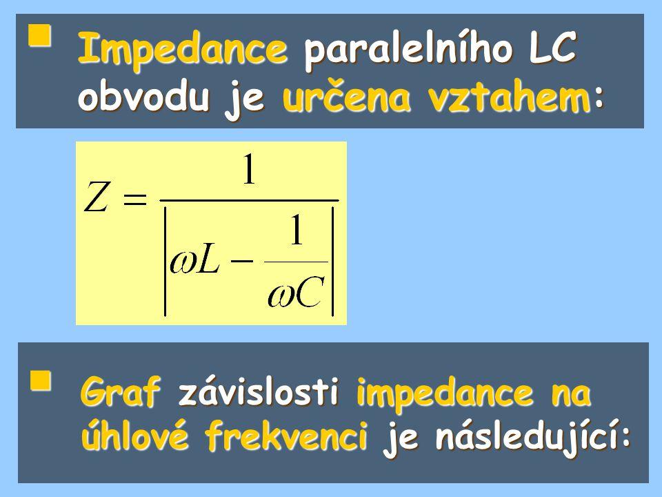 Impedance paralelního LC obvodu je určena vztahem: