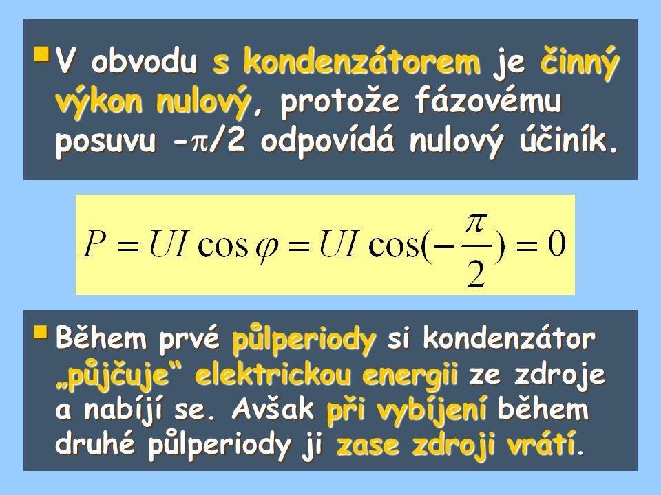 V obvodu s kondenzátorem je činný výkon nulový, protože fázovému posuvu -/2 odpovídá nulový účiník.