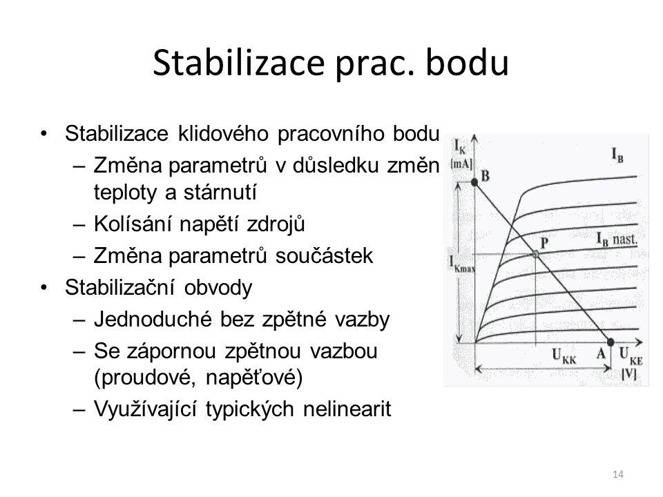 Stabilizace prac. bodu Stabilizace klidového pracovního bodu