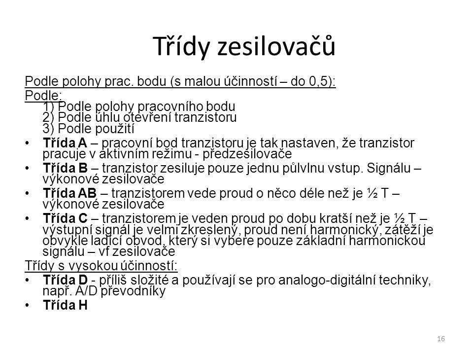 Třídy zesilovačů Podle polohy prac. bodu (s malou účinností – do 0,5):