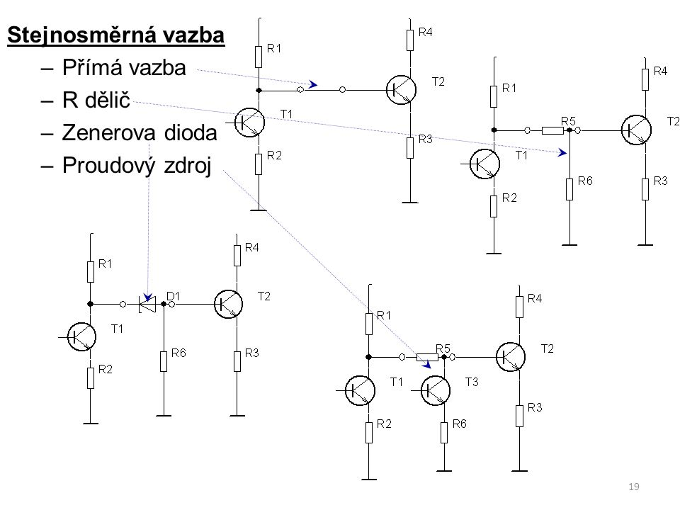 Stejnosměrná vazba Přímá vazba R dělič Zenerova dioda Proudový zdroj