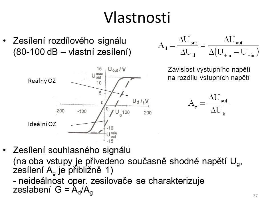 Vlastnosti Zesílení rozdílového signálu (80-100 dB – vlastní zesílení)