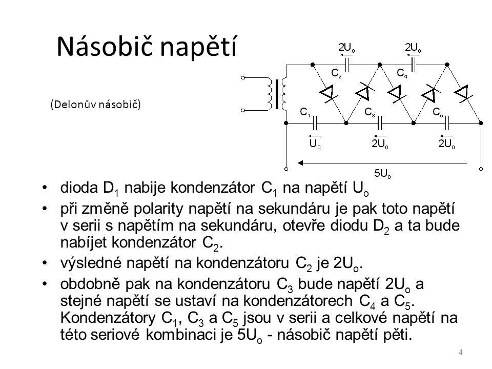 Násobič napětí dioda D1 nabije kondenzátor C1 na napětí Uo