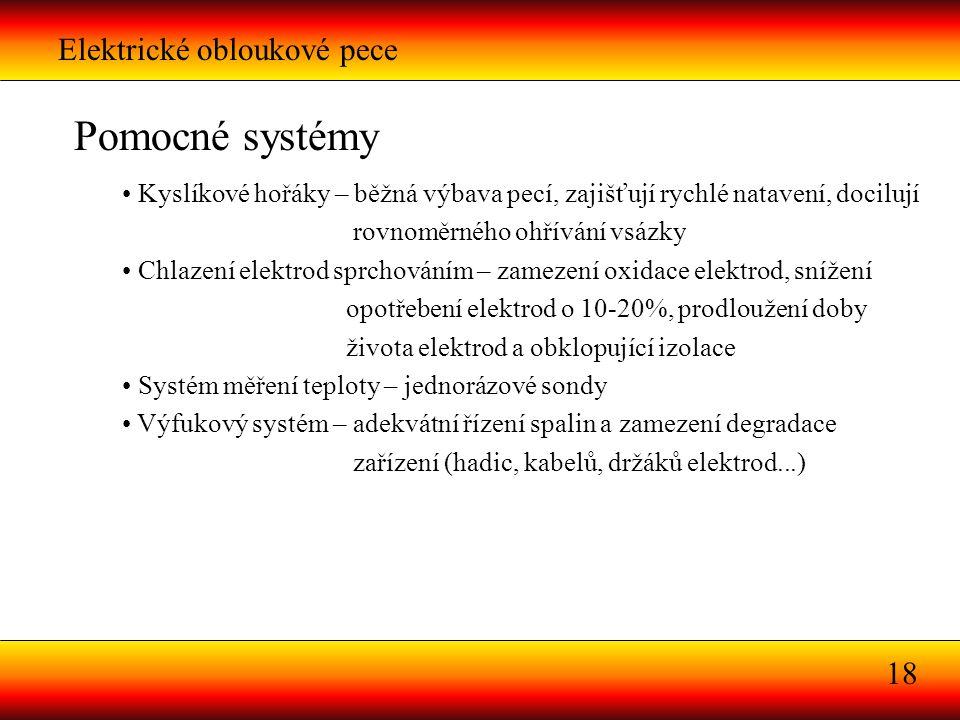 Pomocné systémy Elektrické obloukové pece 18