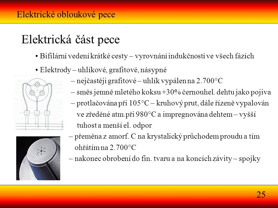 Elektrická část pece Elektrické obloukové pece 25